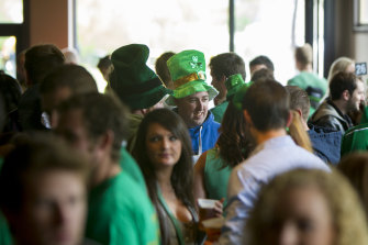 Happier days: St Patrick's Day at the Dan O'Connell pub in 2013.