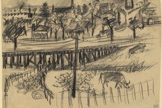 Arthur Boyd's sketch of a flood bridge.