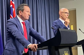 WA Premier Mark McGowan, left, and Attorney-General John Quigley in a press conference about their law relating to Clive Palmer.