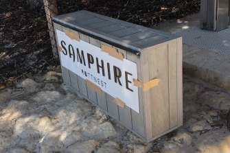 A sign of the times? Rottnest's luxury resort Samphire has its sign held up by brown packing tape.