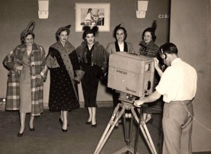 Fred Kenyon recording fashion models at the Festival of Britain, which marked the end of post-World War II austerity, 1951.