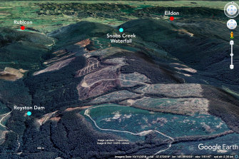 A Google image of the Snobs Creek and Rubicon valleys show the extent of logging coupes.