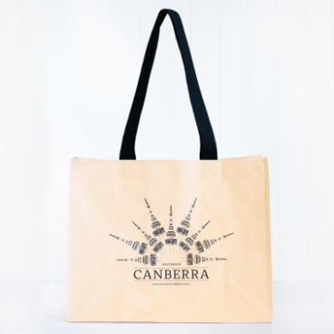 Made from biodegradable and toughened paper, the tote  features Handmade's exclusive Telstra Tower drawing by Little Noisy Miner.