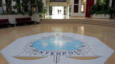The entrance hall of Interpol's headquarters in Lyon, France.