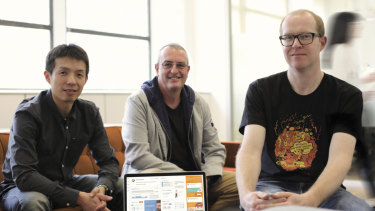 Metigy founders David Fairfull (centre), Johnson Lin (L) and Greg Brine (R).