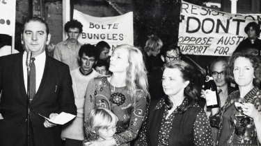 Jean McLean, (holding child), in April 1971, at a rally to celebrate her release from Fairlea prison in Fairfield. Pictured with union leader George Crawford, at the microphone, and fellow Fairlea Fivers Jo Maclaine-Cross and Joan Coxsedge.