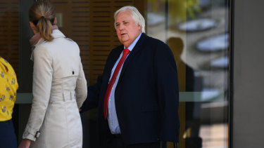 Clive Palmer outside court on Tuesday.