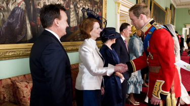 Former prime minister Julia Gillard wearing a hat by Cupid's Millinery at the wedding of Prince William at Kate Middleton in 2011.