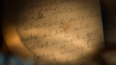What looks like a bloody fingerprint in Michael Ward's war diary.