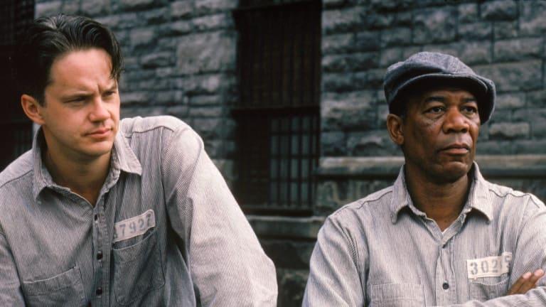 Tim Robbins and Morgan Freeman in the movie the Shawshank Redemption.