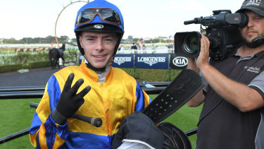 In the hot seat: In-form claiming apprentice Robbie Dolan will be aboard Newcastle flyer Nostre Re at Gosford today.