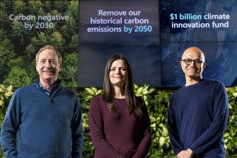 Microsoft president Brad Smith, chief financial officer Amy Hood and CEO Satya Nadella.