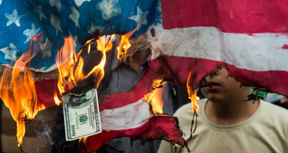 'Death to America': Iranians take to the streets on the eve of US sanctions