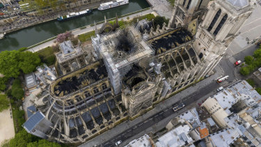 An aerial view of the fire damage to the cathedral.