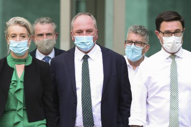 The process gives Nationals leader Barnaby Joyce, centre, considerable leeway to reach an outcome given most MPs were not told of the specific list of demands in the document finalised on Thursday night.