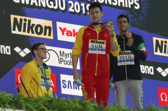 Australian silver medallist Mack Horton refuses to stand on  the dais with gold medallist Sun Yang.