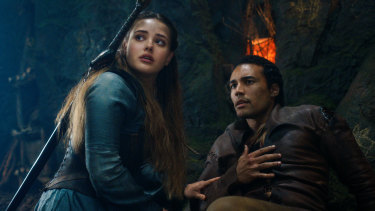 Katherine Langford as Nimue and Devon Terrell as Arthur in Cursed.