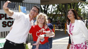 Queensland Premier Annastacia Palaszczuk visited the Aspley electorate in Brisbane's north, where she met local candidate Bart Mellish and voters.