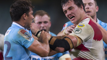 Handbags: Phipps made his playing return this season in the Waratahs' 29-0 loss to the Lions.