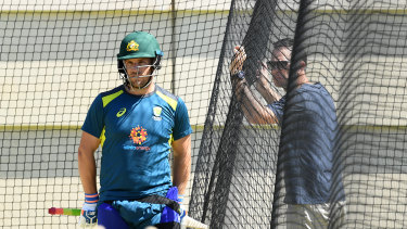 Taking a punt: Former Australian captain Ricky Ponting gives some pointers to batsman Aaron Finch.