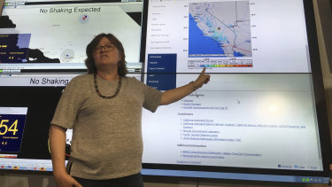 Seismologist Lucy Jones talks during a news conference at the Caltech Seismological Laboratory in Pasadena, California.