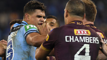 Centre stage: Latrell Mitchell and Will Chambers had a running battle in Origin last year.