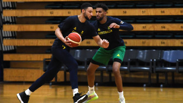 Ben Simmons (left) and Jonah Bolden in action at Boomers training this week.