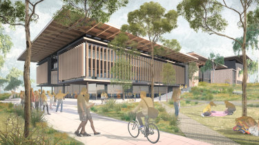 Artist impression of Western Sydney construction hub to be built in Kingswood to provide skills training needed to build the new Aerotropolis.