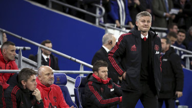 Better days: Central Coast Mariners sporting director Mike Phelan (second from left) on the Manchester United bench.