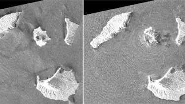 A combination of synthetic aperture radar images shows Indonesia's Anak Krakatoa volcano, centre in images, before and after the December 22 eruption.