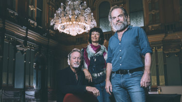 Bryan Brown, Rachel Ward and Hugo Weaving at the launch of the program for next month's Sydney Film Festival at Sydney Town Hall.