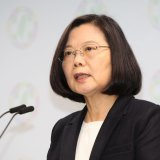 "Taiwanese President Tsai Ing-wen's party has labelled China the ""enemy of democracy."""