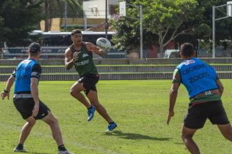 A slimmer Latrell Mitchell is relishing training in his new position with Souths.