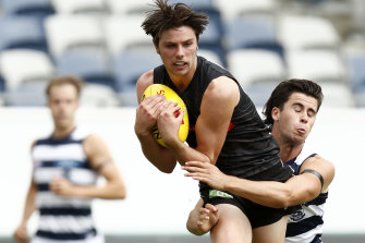 Young Magpie Oliver Henry during a practice match.