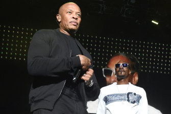 Snoop Dogg and Dr Dre onstage together in Inglewood in 2016.