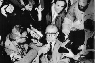 Stanojlo Glisic talks to press at the Belgrade airport Monday, after the closure of Yugoslav consulate in Sydney.