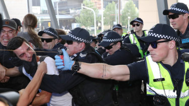Police used pepper spray  on the anti-mining demonstrators in Melbourne last week.