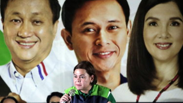 Davao mayor Sara Duterte speaks on the campaign trail in February.