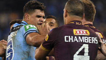 Centre stage: Latrell Mitchell and Will Chambers had a running battle in Origin this year.