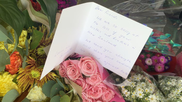 A message of support left at the Newport mosque.