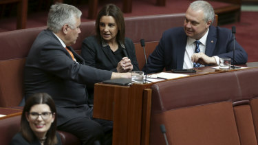 Centre Alliance senators Rex Patrick and Stirling Griff with Tasmanian independent senator Jacqui Lambie during the opening of Parliament on  Tuesday.