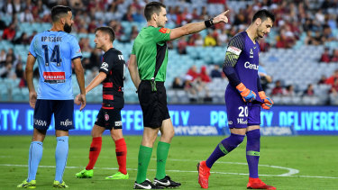 Pivotal: the Wanderers were leading 1-0 before Vedran Janjetovic was sent off against Sydney FC but fell to a 3-1 loss.