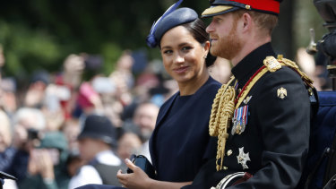 Punters noticed the Duchess of Sussex 's new ring at the Trooping the Colours parade, but Town & Country magazine note she was wearing it at the 'reveal' of baby Archie too.