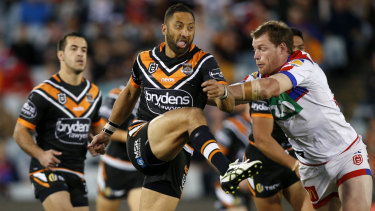 Reinvention: Benji Marshall proved adaptable for the Tigers against the Knights.