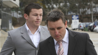Rap sheet: A young Todd Carney emerges from a meeting with senior club officials that ended his Raiders career in 2008.