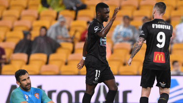 Fright night: Kwabena Appiah-Kubi and O'Donovan enjoy another Jets' goal.