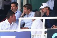 James Packer speaks to Russell Crowe at Lord's cricket ground in London.