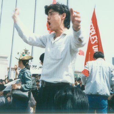 Wu'er Kaixi on the Tiananmen front line in 1989.