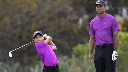 Tiger Woods' son makes TV debut and looks just like he's at home