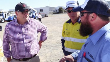 Prime Minister Scott Morrison met apprentices at an engineering firm in Gladstone on Sunday.